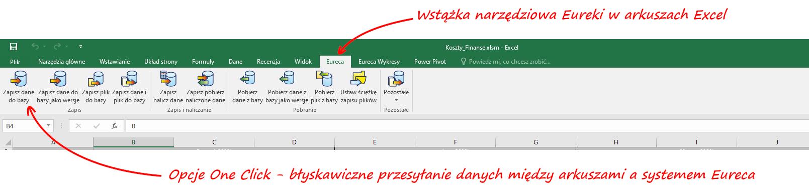 Eureca 4 Excel - Opcje One Click i błyskawiczne przesyłanie danych między arkuszami a systemem Eureca